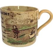 Dr. Franklin's Maxims Pearlware Mug 'Plough Deep While Sluggards Sleep!'