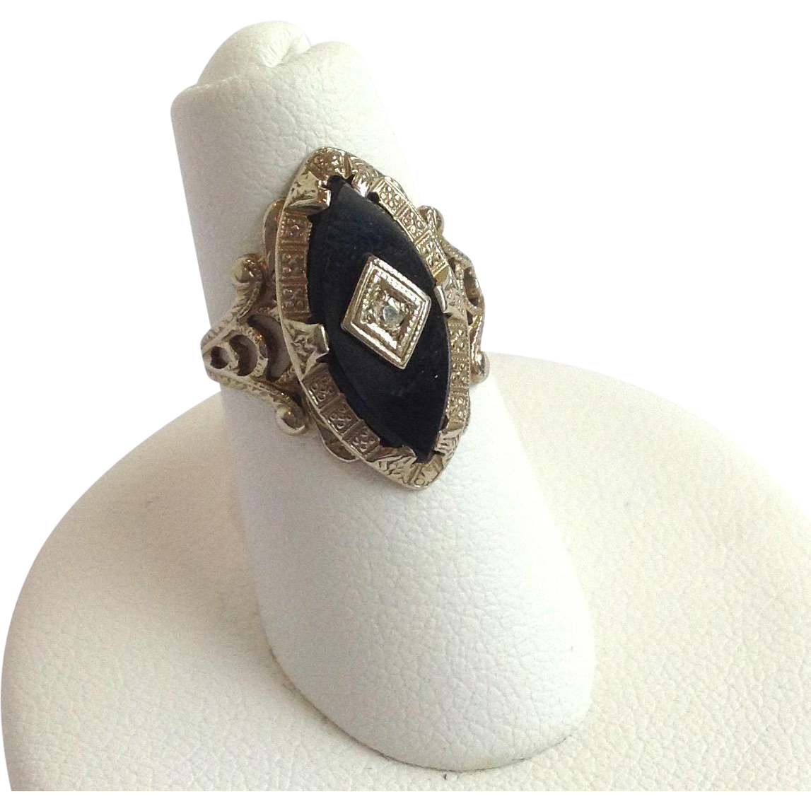 onyx ring 14k white gold size 3 from
