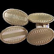 Cufflinks Double Sided Oval Gold 14k Art Deco