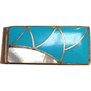 Zuni Money Clip C Lee Silver Turquoise and Mother of Pearl Fish Scale