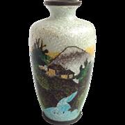 Cloisonne Vase Fishscale Japanese Miniature