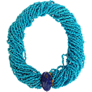 Sleeping Beauty Turquoise and Lapis Multi-Strand Bead Necklace 14K