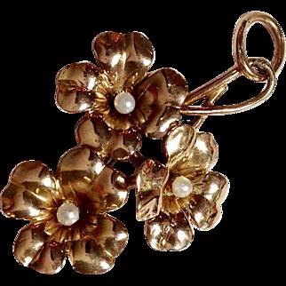 Flower Seed Pearl Pendant 10k Gold