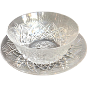 St Louis Florence Clear Crystal Bowl And Underplate 2 Pieces