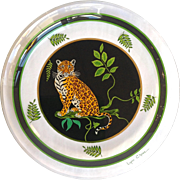 Jaguar Jungle by Lynn Chase Glass Dessert Plate Jaguar Sitting Left 8.25""
