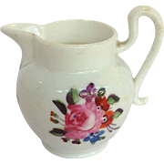 Miniature Pearlware Pitcher Hand Painted Flowers
