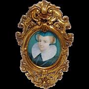 Miniature Portrait of Woman Elizabethan Costume