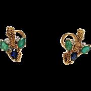 Emerald Sapphire and Diamond Earrings 18k Gold