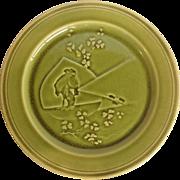 Majolica Green Glazed Choisy-le-Roi Hiker Plate