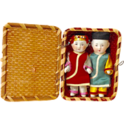 Pair of Bisque Boy and Girl Twin Dolls in Basket Japan
