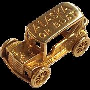 'Alaska or Bust' Jalopy Gold Car Charm 10K