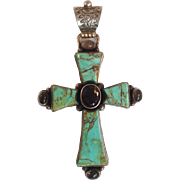 David Troutman Kingman Turquoise Citrine Cross Sterling
