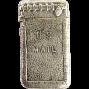 Match Strike Mail Bag Vesta Silver Dated 1896