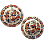 "Pair Of Mason's Ironstone Peacock Pattern 8.5"" Plates Circa Early 1800's"