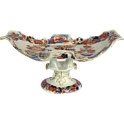 """Mason's Peacock Pattern 14"""" Dessert Compote on Stand Early 1800's"""