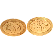 Oval Cufflinks 'HSF' 14K Yellow Gold