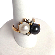 Black And White Pearl Ring Diamonds Italy 14K