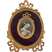 Portrait Miniature Girl With Flowers Gilded Frame 19th Century