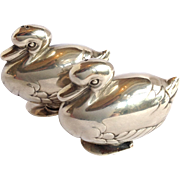 Tiffany Duck Figural Salt And Pepper Shakers