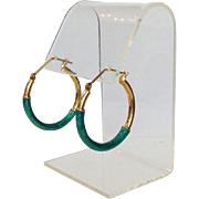 Green Enamel Hoop Earrings 14 Karat