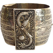 Chinese Dragon Cuff Bracelet Antique Sterling