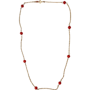 """Red Coral Necklace 14k Gold Chain 16"""""""