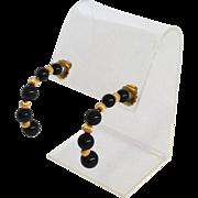 Vintage Onyx Gold Bead Half Hoop Earrings 14k