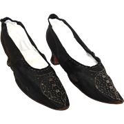 Antique Hellstern & Sons Black Silk Beaded Shoes