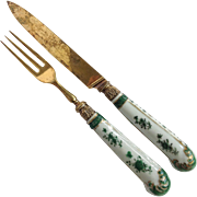 Chinese Export Handle English Sterling Knife And Fork