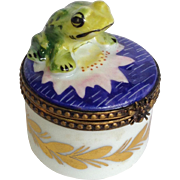 Rochard Limoges Frog on Lily Trinket Box