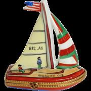 Limoges America's Cup Sailboat Trinket Box