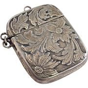 Floral Stamp Box Sterling 19th c.