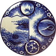 """Large All Blue Imari Charger 18"""""""