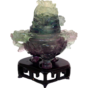 Chinese Fluorite Incense Burner With Stand