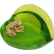 Baccarat Green Glass Heart And Frog