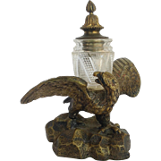 Bronze Eagle Inkwell Antique