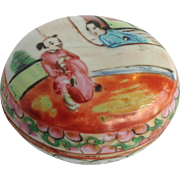 Antique Rose Medallion Covered Box Chinese