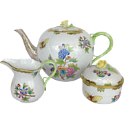 Herend Queen Victoria Tea Set Yellow Rose Finials