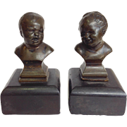 Pair of Bronze Child Busts 19th Century