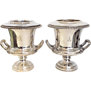 Pair of Crested Antique Sheffield Plate Wine Coolers