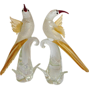 "Pair of Large Venetian Glass 15"" Birds Murano Italy"