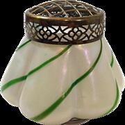 Art Glass Iridescent Green Striped Vase
