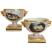 Pair Of Flight Barr and Barr Worcester Pink Pedestaled Bowls with Scenic Painting 19th Century