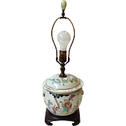 Chinese Porcelain Figural Covered Jar Lamp Antique