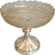 "Greek Key Compote with 800 Silver Base 8"" Antique"