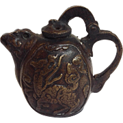 Chinese Water Dropper Tea Pot Bronze 19th Century