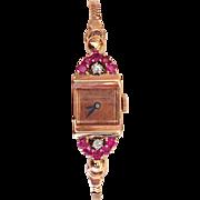 Retro Watch Ruby Diamond 14K Rose Gold
