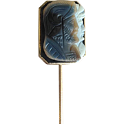 Hard Stone Cameo Classical Mars and Venus Stick Pin 10 Karat