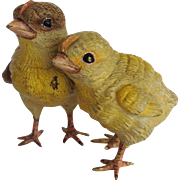 Vienna Bronze Two Chicks Antique 1 3/4""