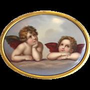 Painted Cupids Plaque 19th Century